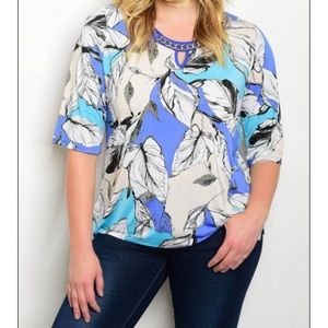 Sale Blue Leaf Pattern Top